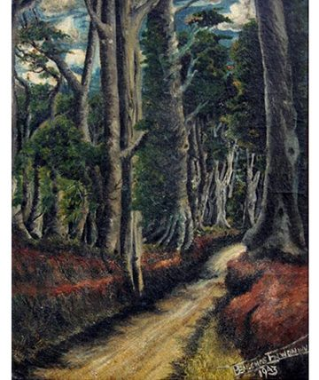 A Path Through The Forest , 1943, Oil on Board  34.5 x 44.5 cm.