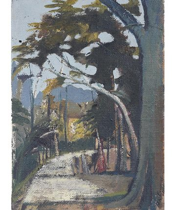 A Country Road, 1950, Oil on Canvas 35.5 x 25.5cm.