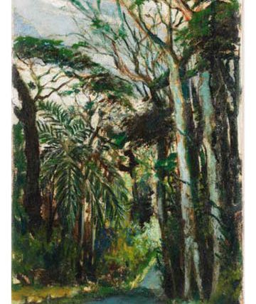 A forest road, oil on canvas laid to board, 44 x 30.5cm