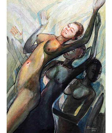 African Dance Ensemble , 1960, Watercolour on Paper 74 x 52 cm.