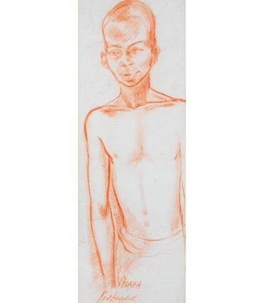 Asaba, 1959, Red Chalk 75 x 26cm.