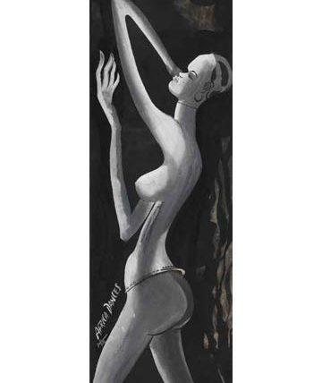 Africa Dances, 1954, gouache and watercolour, 78 x 27cm