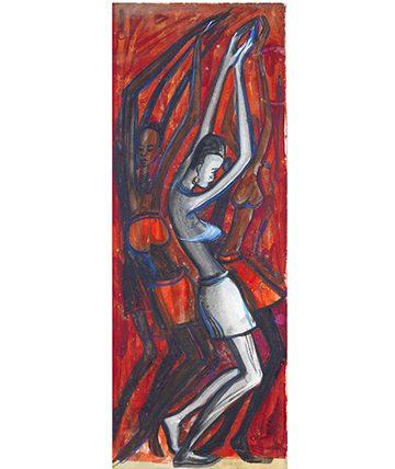 Africa Dances 1959, Watercolour 77.5 x 29.5cm.