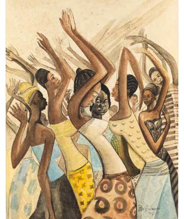 Africa Dances, 1967, watercolour mounted on board, 76 x 64cm