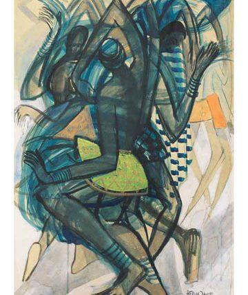 Africa Dances, 1970, watercolour, 76 x 51cm