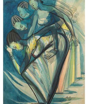 Africa Dances, 1971, watercolour, 76 x 54cm