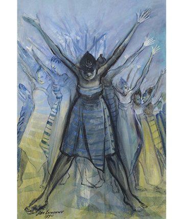 Africa Dances ,1990, Oil on Canvas 74 x 49 cm.