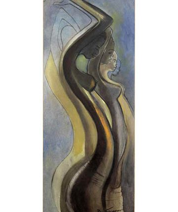 Africa Dances, 1991, oil on canvas, 122 x 48cm