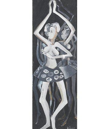 Africa Dances II,1952 Gouache on Board 78.5 x 26 cm.