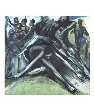 Africa Dances Oil on Canvas 105 x 114cm.
