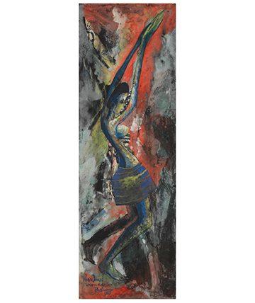 Africa Dances / Shadows of Rhythm, 1955, Gouache on Card Laid to Board 77.5 x 26cm