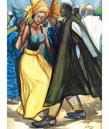Africa Dances  High Life, 1972, Gouache 76 x 54cm.