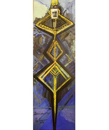 Africanity , 1964 Gouache 73.6 x 25.4 cm.
