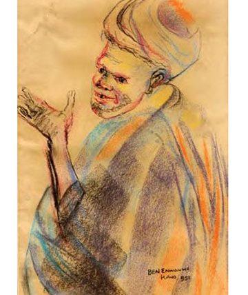 Beggar , 1951, Pastel on Paper 36 x 23 cm. (14 x 9.5 in.)