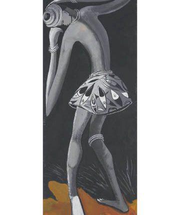 Ben Enwonwu, 'Africa Dances', 1951, gouache on paper, 57 x 22.5cm