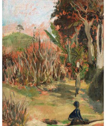 Ben Enwonwu, 'Figures on a Forest Path', 1976, oil on canvas, 54 x 39cm