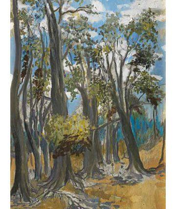 Ben Enwonwu, 'Forest Trees', 1982, oil on canvas, 53 x 37cm