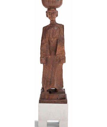 Ben Enwonwu, 'Fruit Seller', wood, 124 x 32 x 33cm