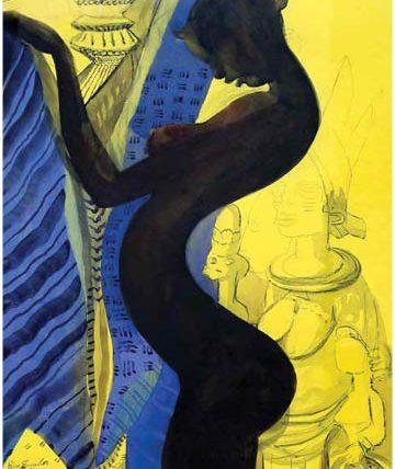 Ben Enwonwu, Negritude, 1991, watercolour on paper, 80 x 53 cm