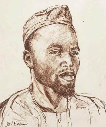 Ben Enwonwu, 'Portrait of a Hausa Man', 1972, red chalk on paper, 50cm x 39.5cm