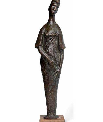 Ben Enwonwu, Standing Woman, bronze, 69 x 17.5 x 12cm