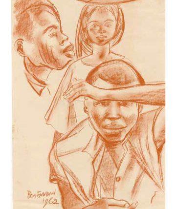 Ben Enwonwu, 'Three Children', 1962, chalk on paper, 36 x 37cm