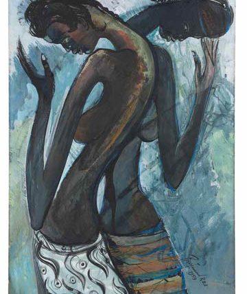 Ben Enwonwu, 'Two Women Wearing Ankara', 1959, gouache, 76 x 53cm