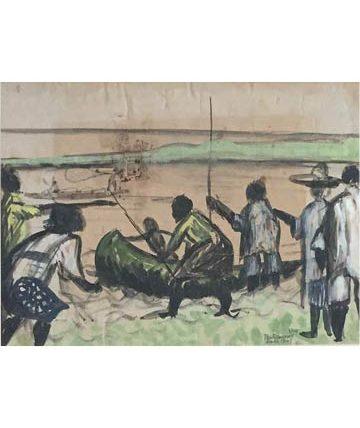 Ben Enwonwu, Untitled, 1945, watercolour on paper, 26 x 36 cm.