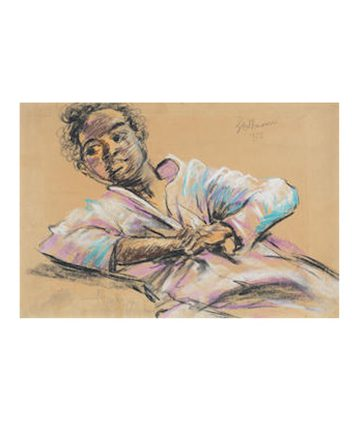 Boy with Hands Folded, 1953, Charcoal and Coloured Chalk on Paper 29.5 x 44cm.