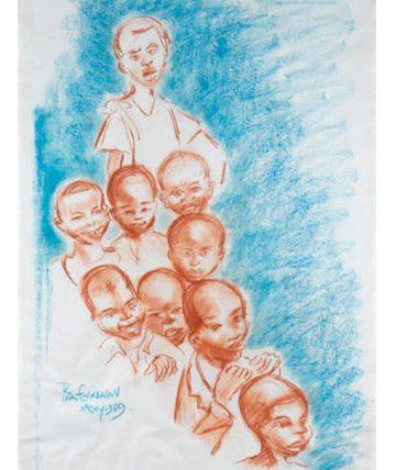 Children of Onitsha May 1959 Coloured Chalks 78.5 x 56 cm.