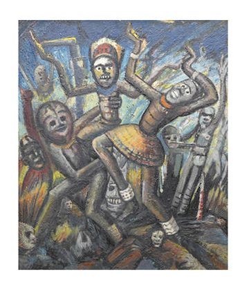 Crucified Gods Galore, 1946, Oil on Board 76 x 64cm.