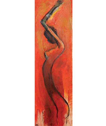 Dance of the Canewood, 1981, Oil on Canvas 81.5 x 25.5 cm.