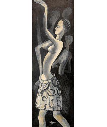 Dancers, 1952, Gouache on Paperboard, 78.5 x 26.5cm.