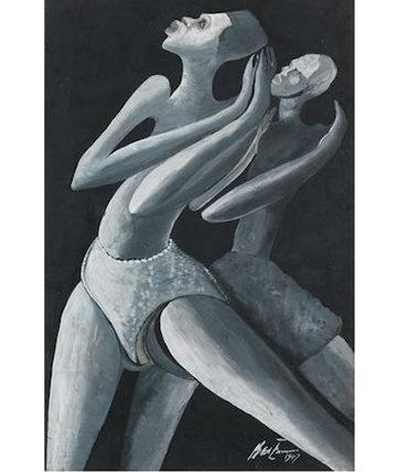 Dancers in the Sun, 1947, Gouache 51 x 34cm.