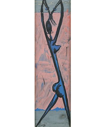 Dancing Girl with Outstretched Arms,1955, Gouache 51.5 x 15.5cm