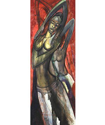Dancing Female Watercolour on Card.