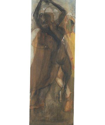 Dancing Figures, 1972, Watercolour on Board 91 x 41cm.