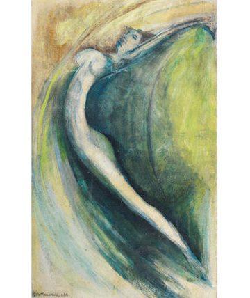 Dancing Spirit,1980 Oil on Canvas 77 x 48cm.