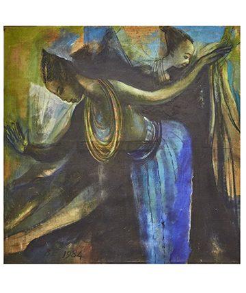 Ebitu Dancers, 1984, Oil on Canvas, 122 x 122 cm