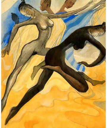 Female nudes (Africa Dances), 1981, gouache, 75 x 55cm