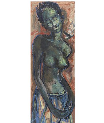 Figure of a Young Woman , 1959, Gouache 75 x 27.5cm (29 12 x 10 1316in)