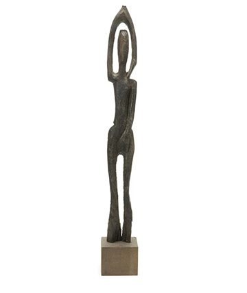 Figure with Raised Arm Carved Wood 93 x 10.5 x 5cm.
