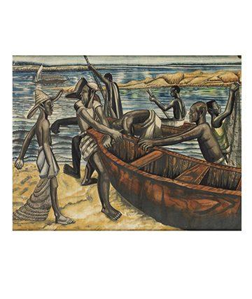 Fishermen on the Beach , 1944, Watercolour 36.5 x 46.5cm.