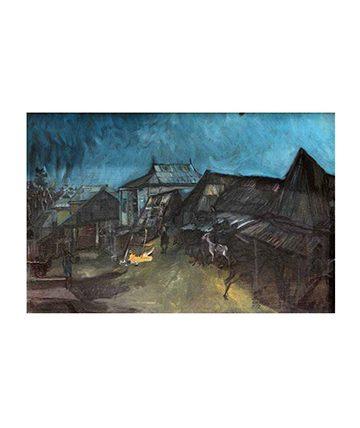 Gbongan , 1972, Oil on Canvas 61 x 92 cm.