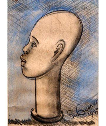 Head , 1947, Pencil Sketch  32.1 x 21.9 cm. (12.5 x 8.5 in.)