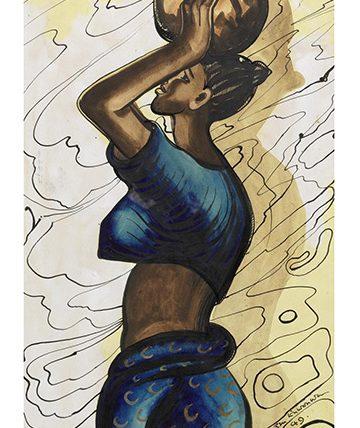Lady Carrying a Pot , 1949,  Gouache 37 x 10.5cm (14 916 x 4 18in)