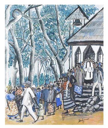 Leaving Church , 1957,  Watercolour 44.5 x 36.5cm.
