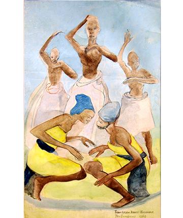 Legon Dancing Esemble, Watercolour, 44.5 x 73 cm.