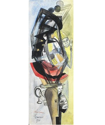 Mask Abstract , 1965,  Watercolour on Card 76.5 x 27cm.