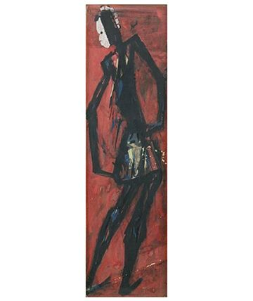 Masked Dancer Gouache 53 x 15.5cm.